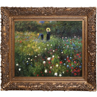 Woman with a Parasol in a Garden by Pierre-Auguste Renoir Framed Original Painting RN2694-FR-256G20X24
