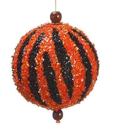 Tori Home Diva Safari Beaded Tiger Stripe Animal Print Christmas Ball Ornament XN7307-BZ/BK