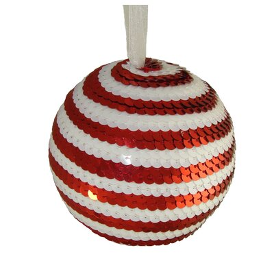 Peppermint Twist and Candy Cane Stripe Sequin Christmas Ball Ornament