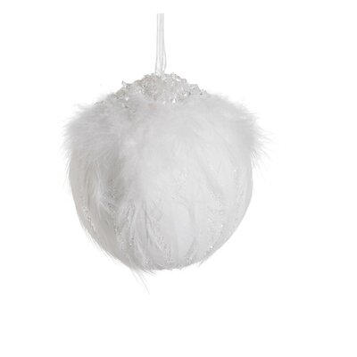 Pure Class Beaded and Glittered Feather Snowball Christmas Ornament