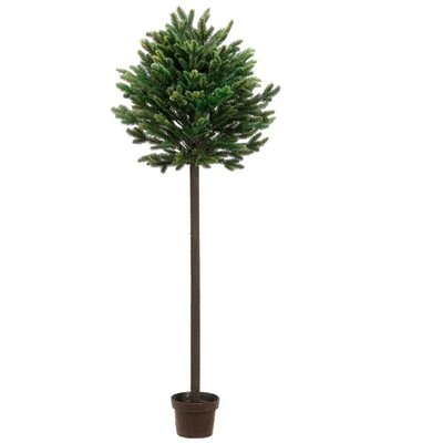 4' Potted Short Needle Balsam Pine Artificial Topiary Christmas Tree