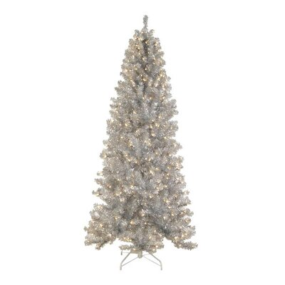 6.5' Silver Tinsel Noble Pine Artificial Christmas Tree with Clear Light