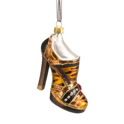 Fashion Avenue Animal Print High Heel Shoe Glass Christmas Ornament XGN040-BZ/BK