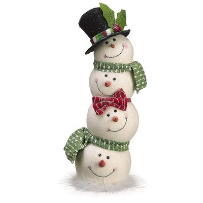 Glittered Snowman Head Totem Pole Christmas Table Top Figure XSM183-WH