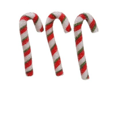 Peppermint Twist Sugared Candy Cane Christmas Ornaments