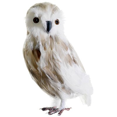 Snow Drift Large Owl with Picks Christmas Table Top Figure BB1378-BR/WH