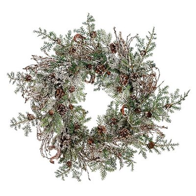 Tori Home Woodland Iced Artificial Christmas Wreath With Pine Cones image