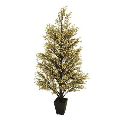 3.7' Potted Gold and Black Glittered Berry Christmas Tree