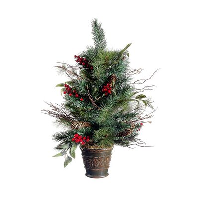 2.2' Potted Pine Cone Berry Winter Vermont Pine Artificial Christmas Tree
