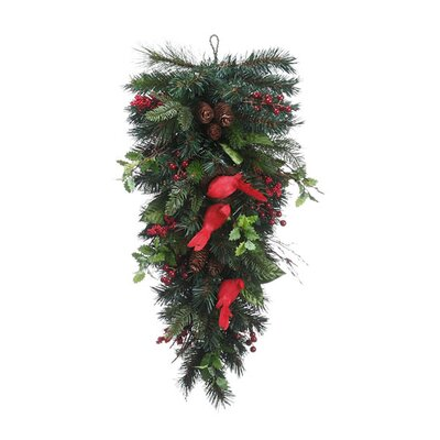 Pre Decorated Pine Cone Berry Artificial Christmas Teardrop Swag XDY323-RE