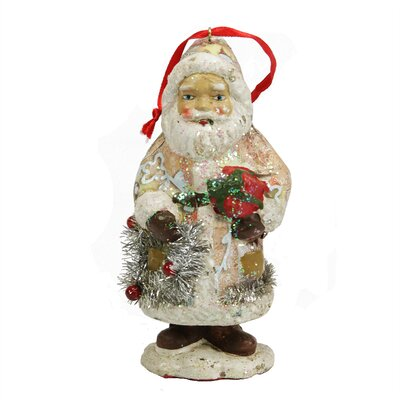 Ceramic Glitter Santa with Gifts and Wreath Christmas Ornament