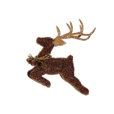Metallic Beaded Reindeer Christmas Ornament