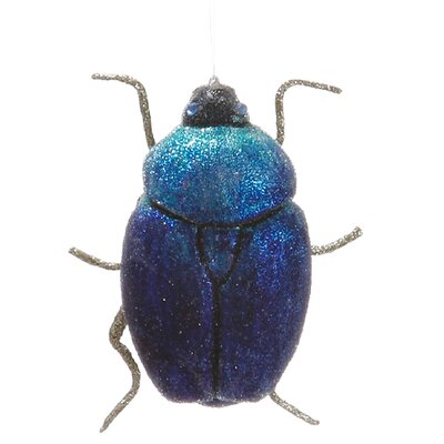 Tori Home Regal Peacock Sugared Scarab Beetle Christmas Ornament XN1260-SZ/BL