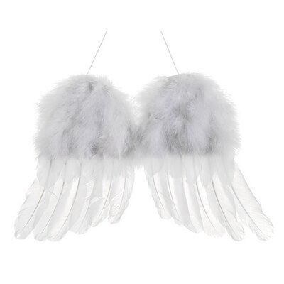 Winter Solace Snow Faux Feather Cherub Angel Wings Christmas Ornament