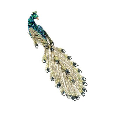 Regal Peacock Facing Glitter Sequin and Bead Clip-On Peacock Christmas Ornament