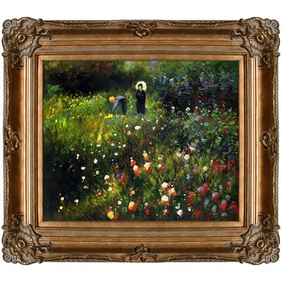'Woman with a Parasol in a Garden (Frau mi Sonnenschirm)' by Renoir Framed Print Painting RN2694-FR-801G20X24