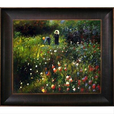 'Woman with a Parasol in a Garden (Frau mi Sonnenschirm)' by Renoir Framed Print Painting RN2694-FR-939320X24