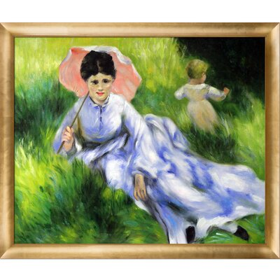 Woman with a Parasol and a Small Child on a Sunlit Hillside by Renoir Framed Original Painting RN867-FR-H510020X24