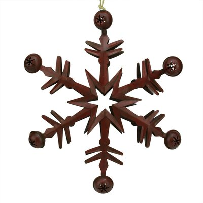 Country Cabin 6 Point Metal Christmas Star Ornament with Jingle Bells