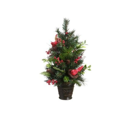 2.2' Potted Pine Cone Cardinal and Berry Pine Artificial Christmas Tree