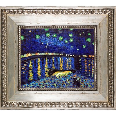 'Starry Night Over the Rhone' by Vincent Van Gogh Framed Oil Painting Print on Canvas