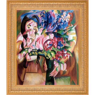 'Flowers and Figures' Framed Oil Painting Print on Canvas