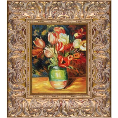 'Tulips in a Vase' by Pierre-Auguste Renoir Rectangle Framed Oil Painting Print on Canvas