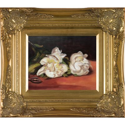 'Branch of White Peonies with Pruning Shears' by Edouard Manet Rectangle Framed Oil Painting Print on Canvas