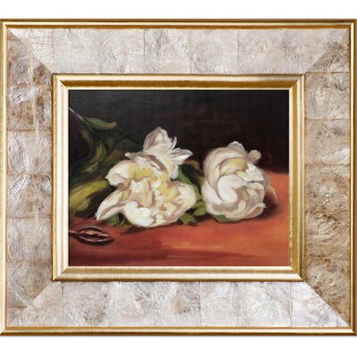 'Branch of White Peonies with Pruning Shears' by Edouard Manet Framed Oil Painting Print on Canvas