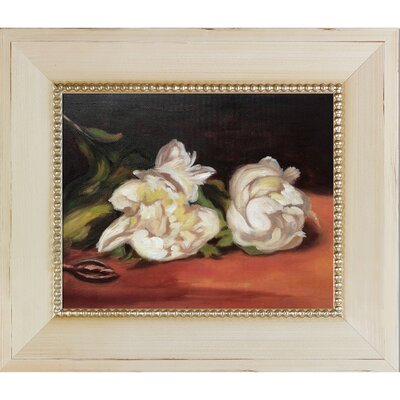 'Branch of White Peonies with Pruning Shears' by Edouard Manet Wood Framed Oil Painting Print on Canvas