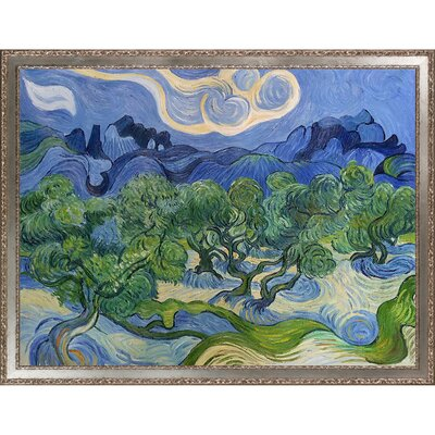 'Olive Trees with the Alpilles in the Background' by Vincent Van Gogh Framed Oil Painting Print on Canvas LTDR2015 40161692