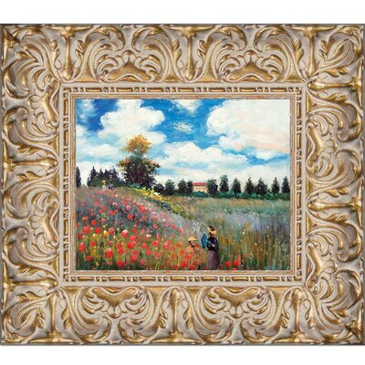 'Poppy Field in Argenteuil' by Claude Monet Framed Oil Painting Print on Canvas