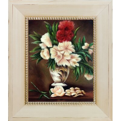 'Peonies in a Vase' Wood Framed Oil Painting Print on Canvas