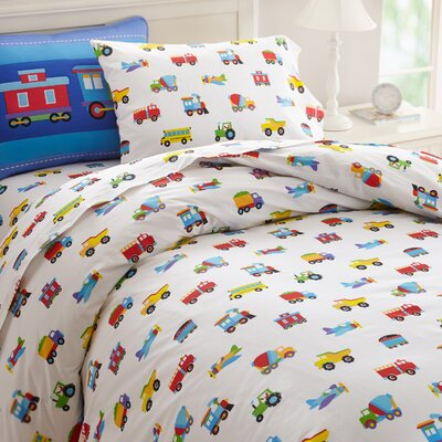 Olive Kids Trains, Planes and Trucks Duvet Cover Size: Full
