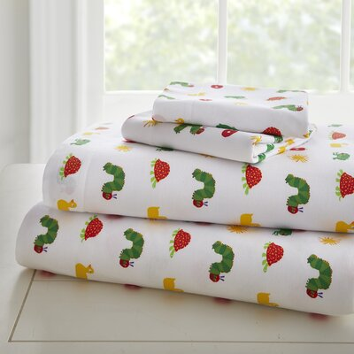 The Very Hungry Caterpillar 205 Thread Count 100% Cotton Sheet Set Size: Full