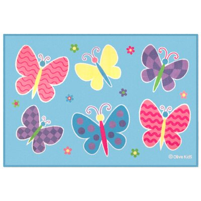 Olive Kids Butterfly Garden Blue Area Rug
