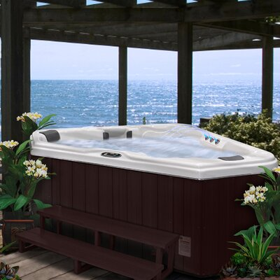 SPA, HOT TUB, JACUZZI 2-Person 28-Jet Triangle Spa with Backlit LED Waterfall