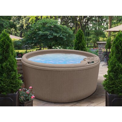 SPA, HOT TUB, JACUZZI 4 Person 10-Jet Round Bench Spa with Easy Plug-N-Play System Finish: Cinnabar