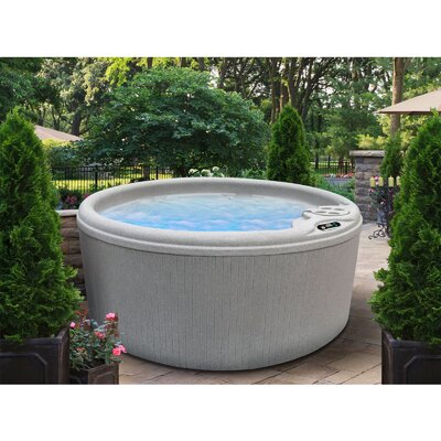 SPA, HOT TUB, JACUZZI 4-Person 10-Jet Round Bench Spa with Easy Plug-N-Play System Finish: Sahara