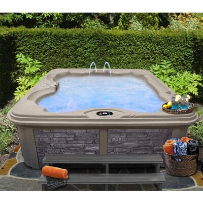 SPA, HOT TUB, JACUZZI 6 Person 30-Jet Bench Spa with Easy Plug-N-Play and LED Waterfall Finish: Cinnabar