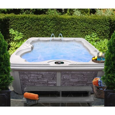 SPA, HOT TUB, JACUZZI 6-Person 30-Jet Bench Spa with Easy Plug-N-Play and LED Waterfall Finish: Sahara