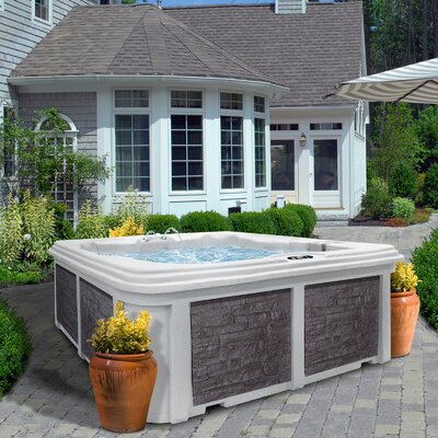 SPA, HOT TUB, JACUZZI 6 Person 30-Jet Lounger Spa with Easy Plug-N-Play and LED Waterfall Finish: Sahara