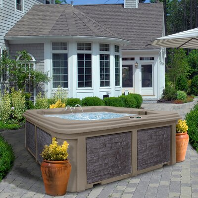 SPA, HOT TUB, JACUZZI 6-Person 30-Jet Lounger Spa with Easy Plug-N-Play and LED Waterfall Finish: Cinnabar