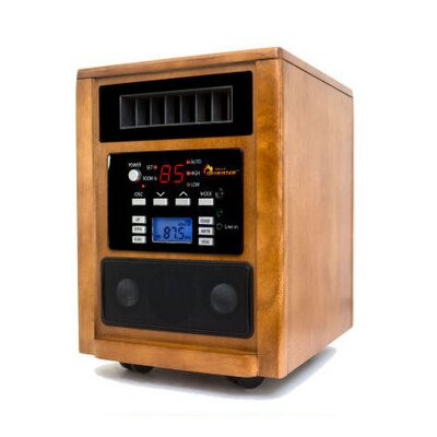Music Heater 1,500 Watt Portable Electric Infrared Cabinet Heater with Adjustable Thermostat