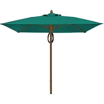 7.5 Prestige Canopy Square Market Umbrella Frame Finish: White, Fabric: Teal
