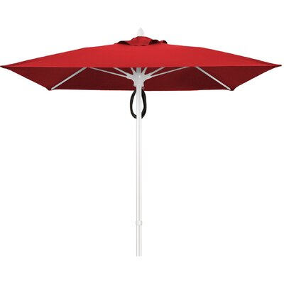 7.5 Prestige Canopy Square Market Umbrella Frame Finish: Champagne Bronze, Fabric: Jockey Red