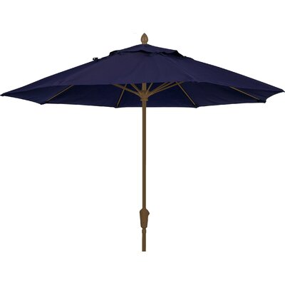 9 Prestige Canopy Octagonal Market Umbrella Fabric: Captain Navy, Frame Finish: Champagne Bronze