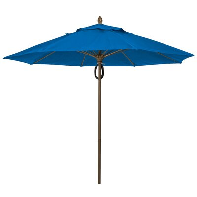 9 Prestige Canopy Octagonal Market Umbrella Fabric: Pacific Blue, Frame Finish: Champagne Bronze