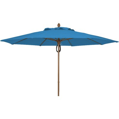11 Prestige Canopy Octagonal Market Umbrella Fabric: Sky Blue, Frame Finish: White