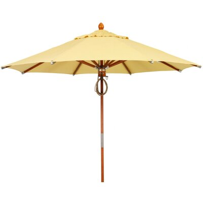 9 Prestige Wood Canopy Octagonal Market Umbrella Fabric: Sunflower Yellow